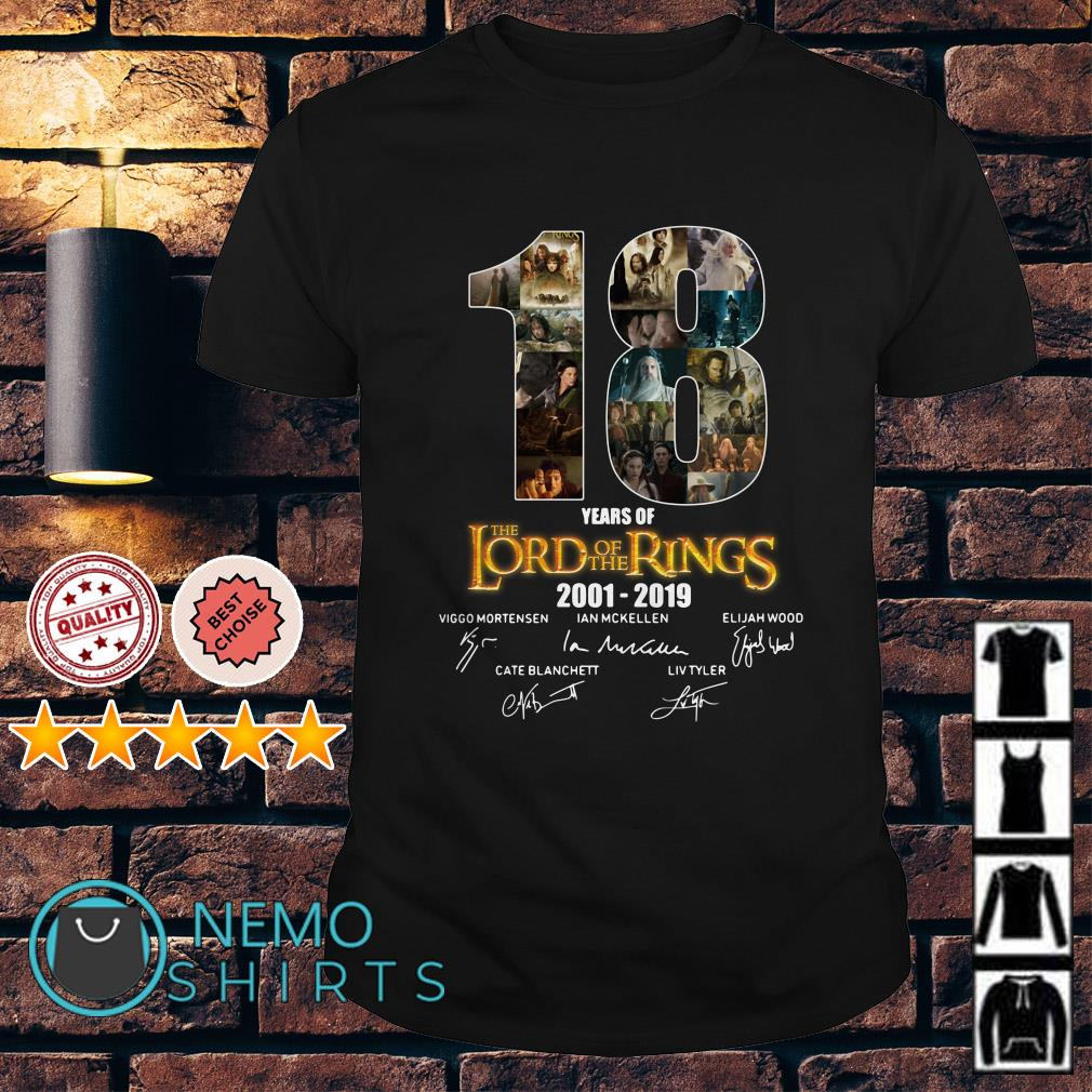 18 years of The Lord of The Rings 2001 2019 signature shirt