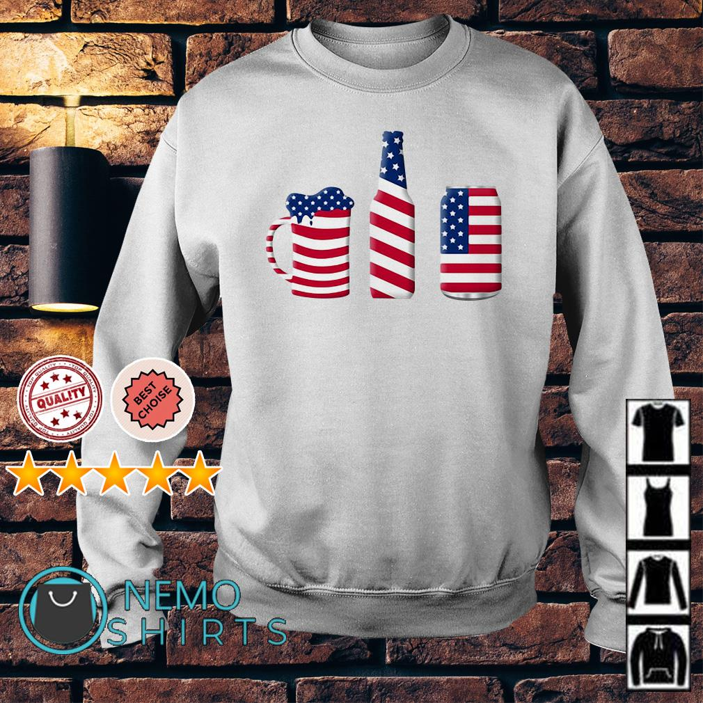Beer American flag Independence day Sweater