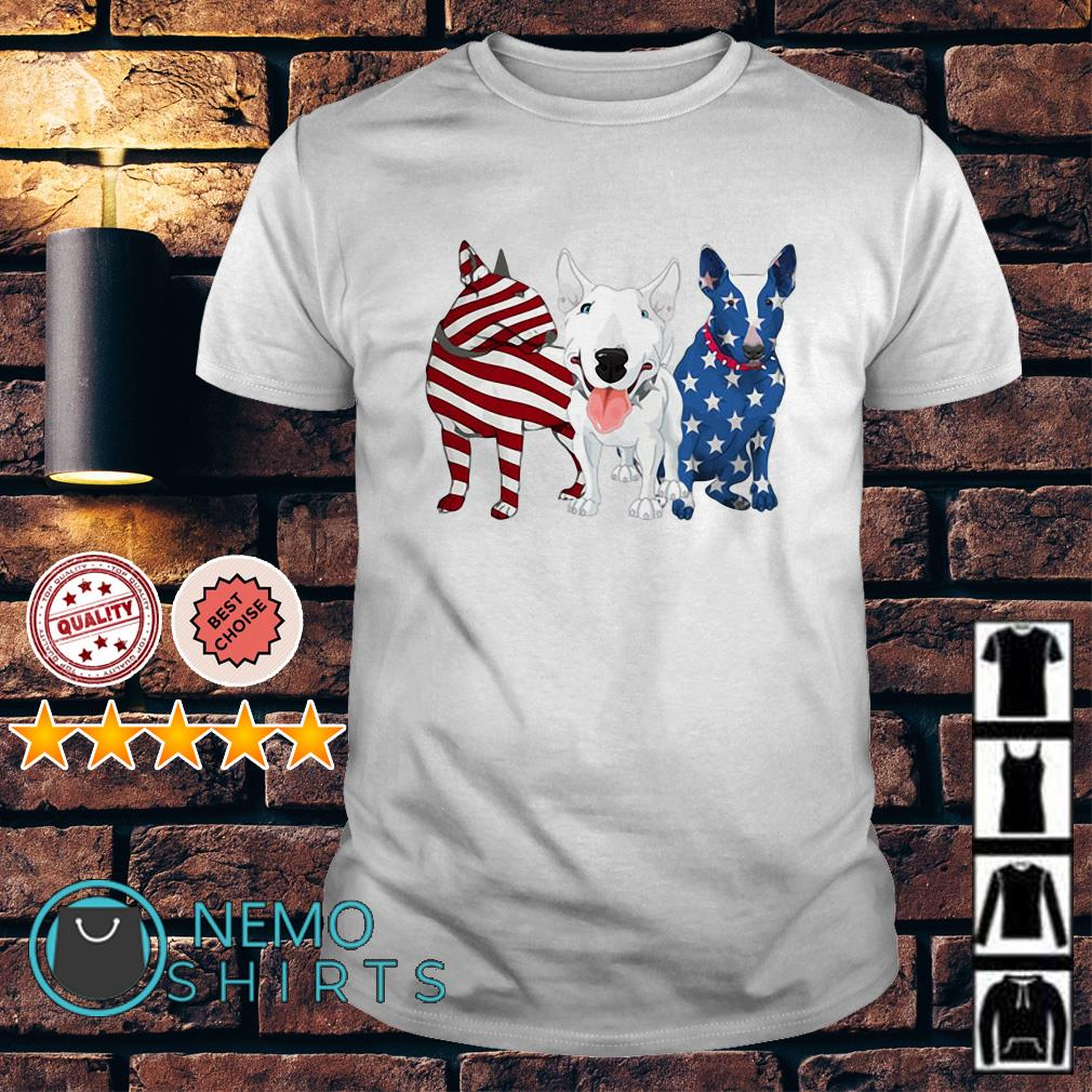 Bull Terrier American flag Independence day shirt