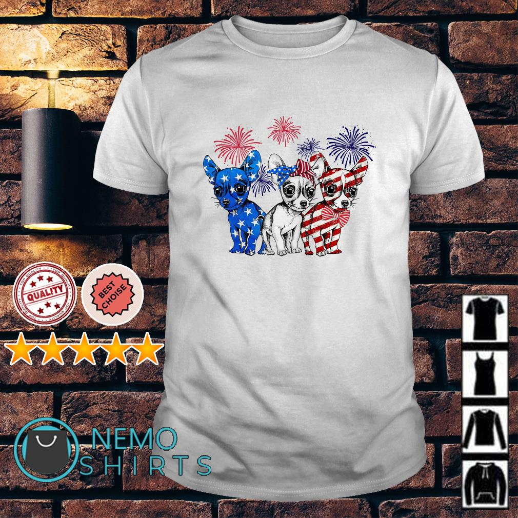 Chihuahuas American flag happy Independence day shirt