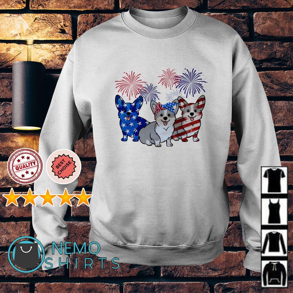Corgi American flag Independence day Sweater