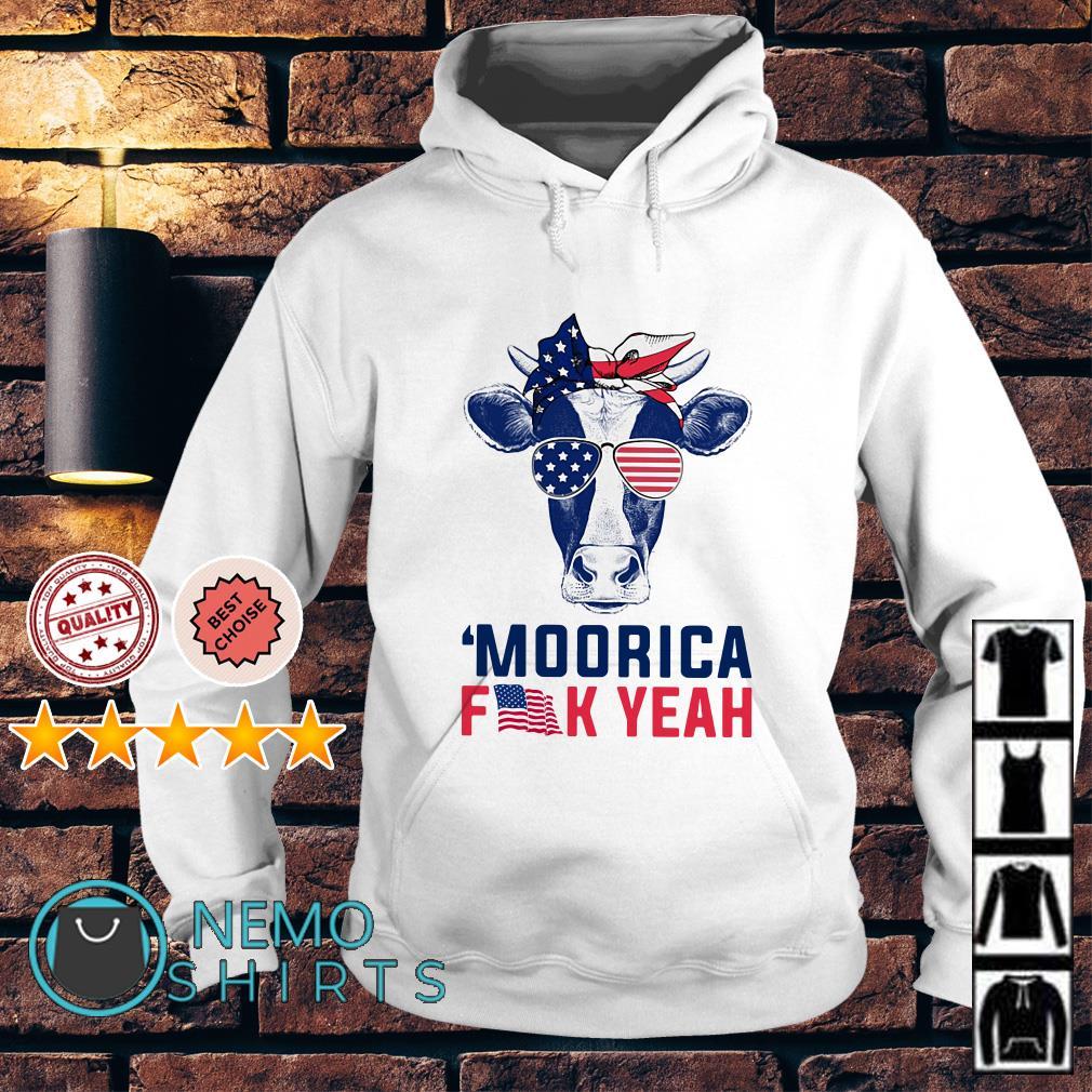 Cow American flag Independence day moorica fuck yeah Hoodie