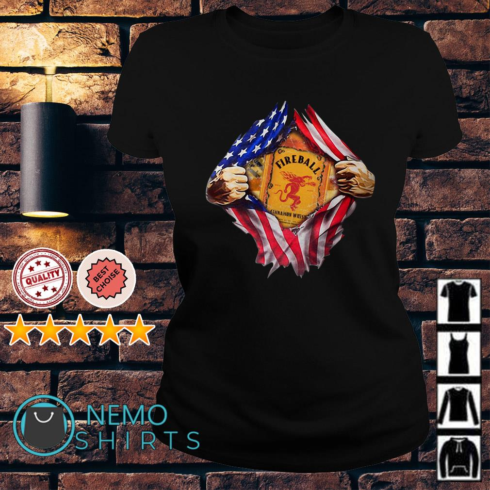 Fireball inside me American flag Independence day Ladies Tee