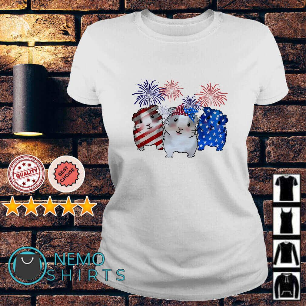 Guinea Pigs American flag happy Independence day Ladies Tee
