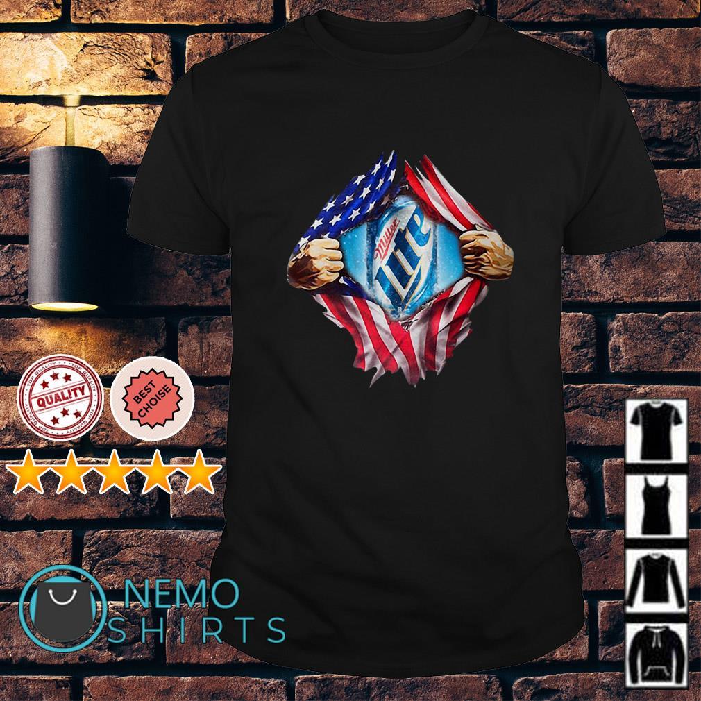 Miller Lite inside me American flag Independence day shirt