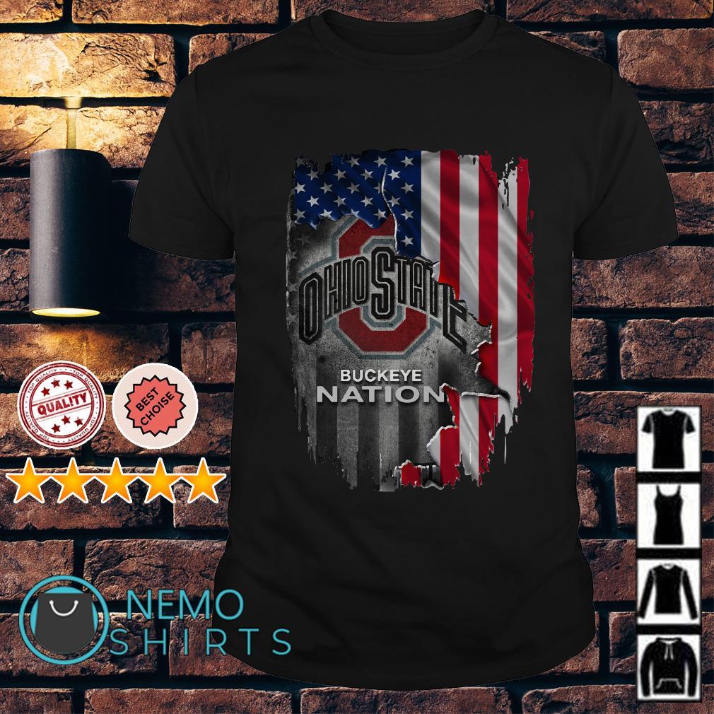 Ohio State Buckeye Nation American flag Independence day shirt