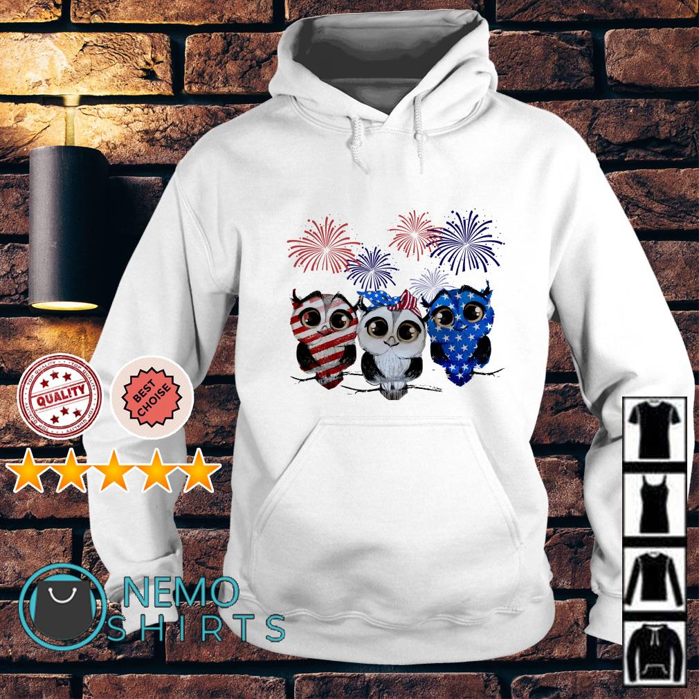 Owl American flag happy Independence day Hoodie