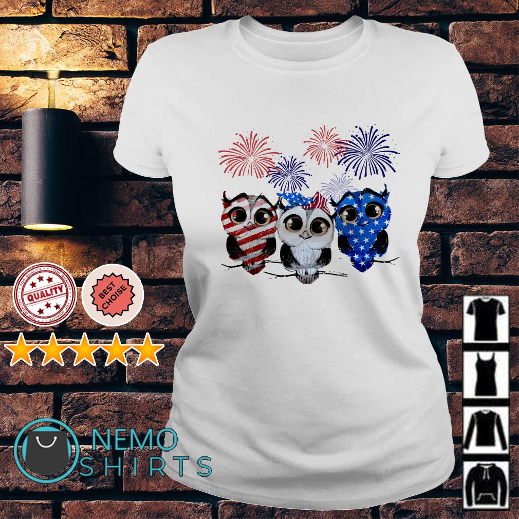 Owl American flag happy Independence day Ladies Tee