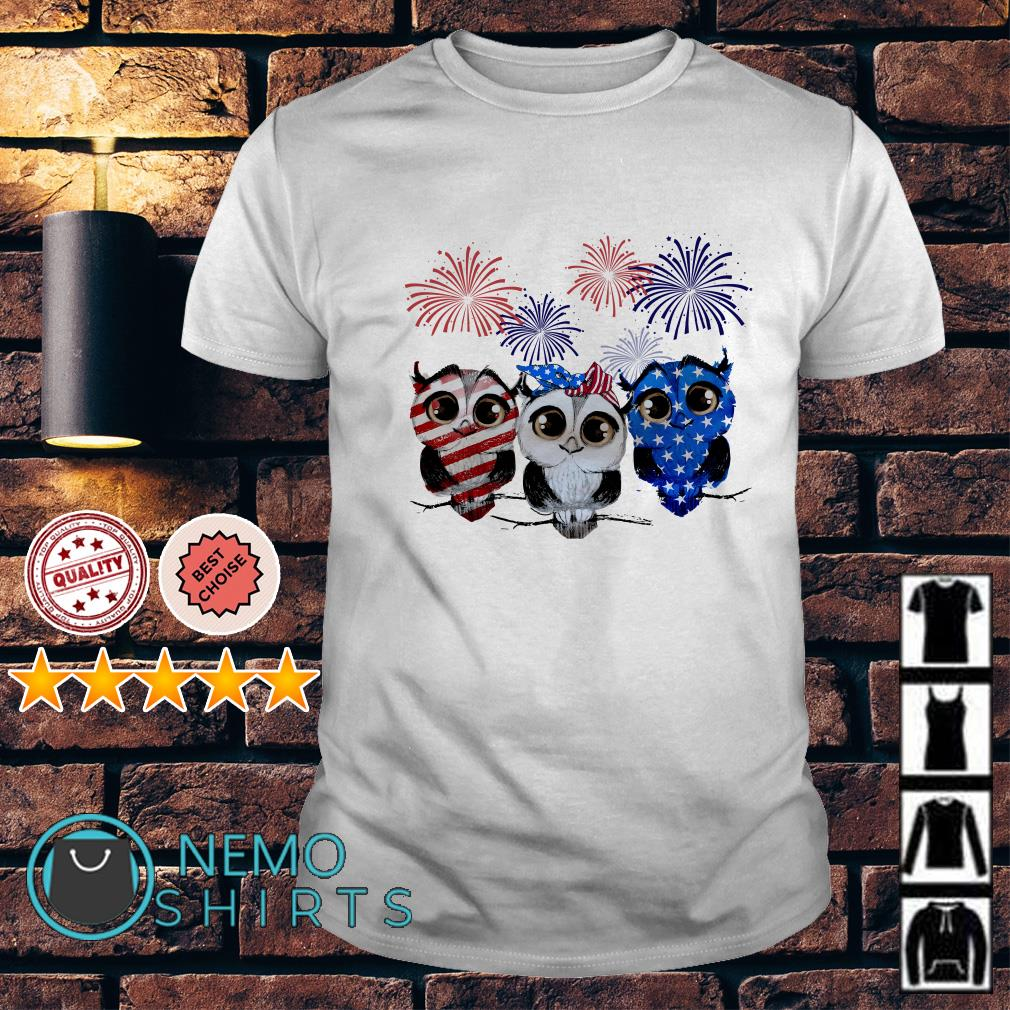 Owl American flag happy Independence day shirt