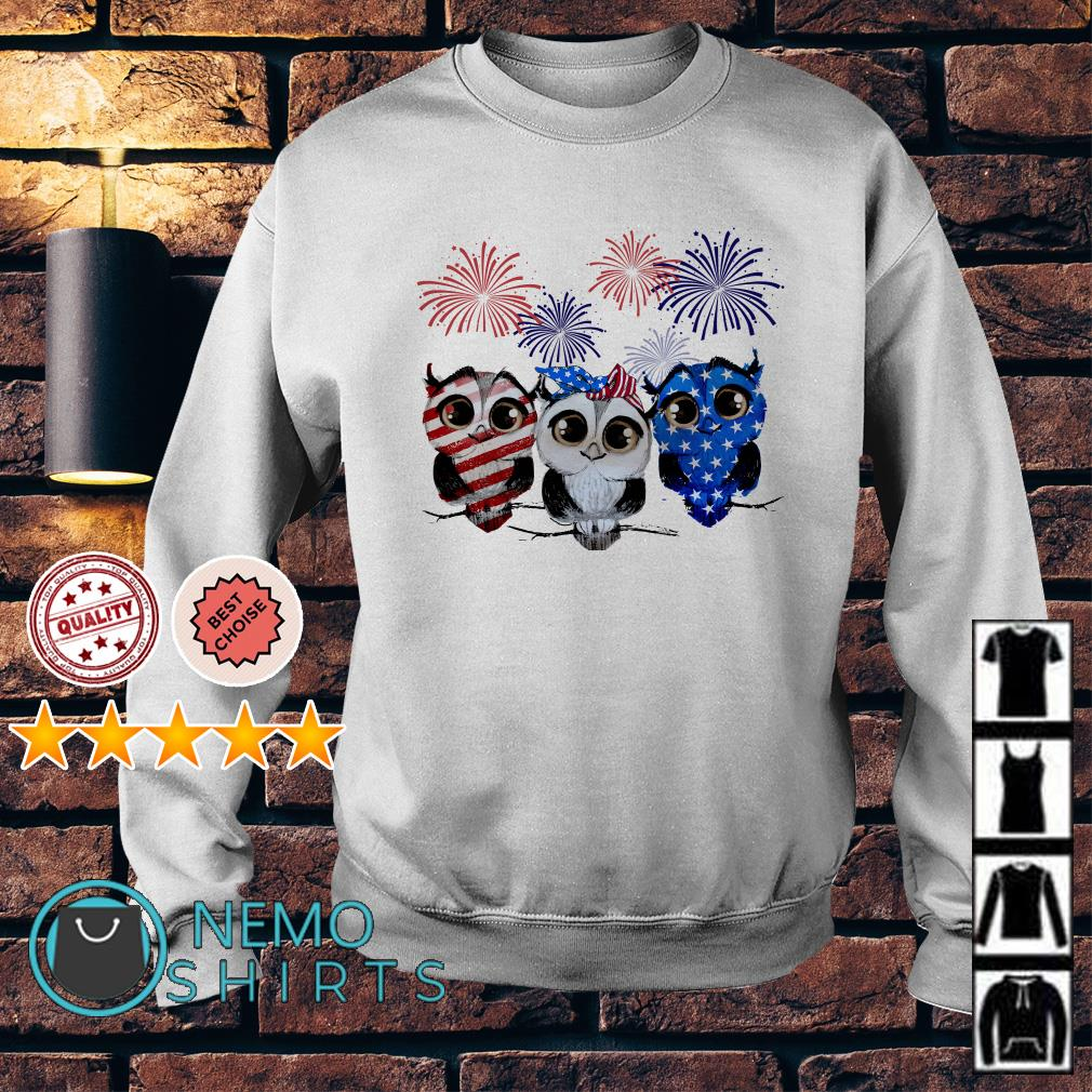 Owl American flag happy Independence day Sweater