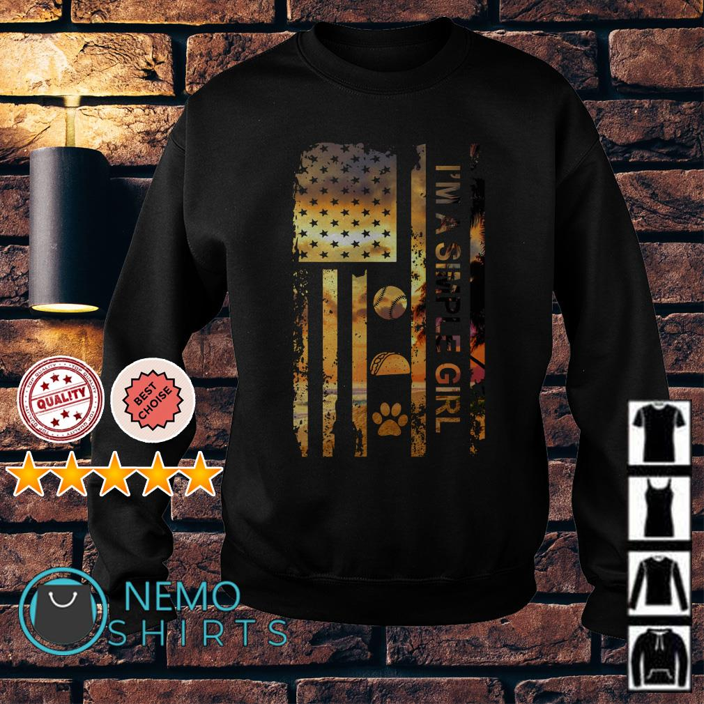 I am simple woman I like Basaball Taco and Dog paw Independence day Sweater