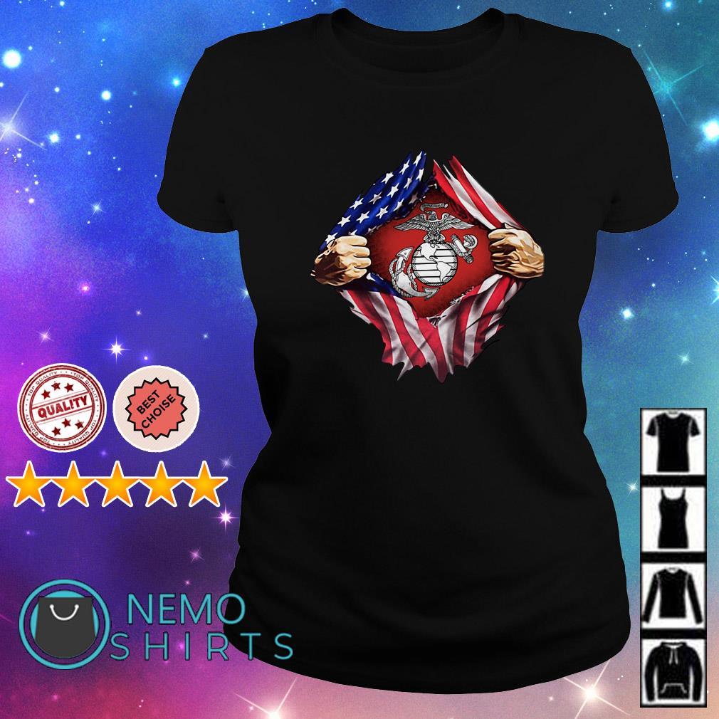 United States marine corps inside American flag Ladies Tee