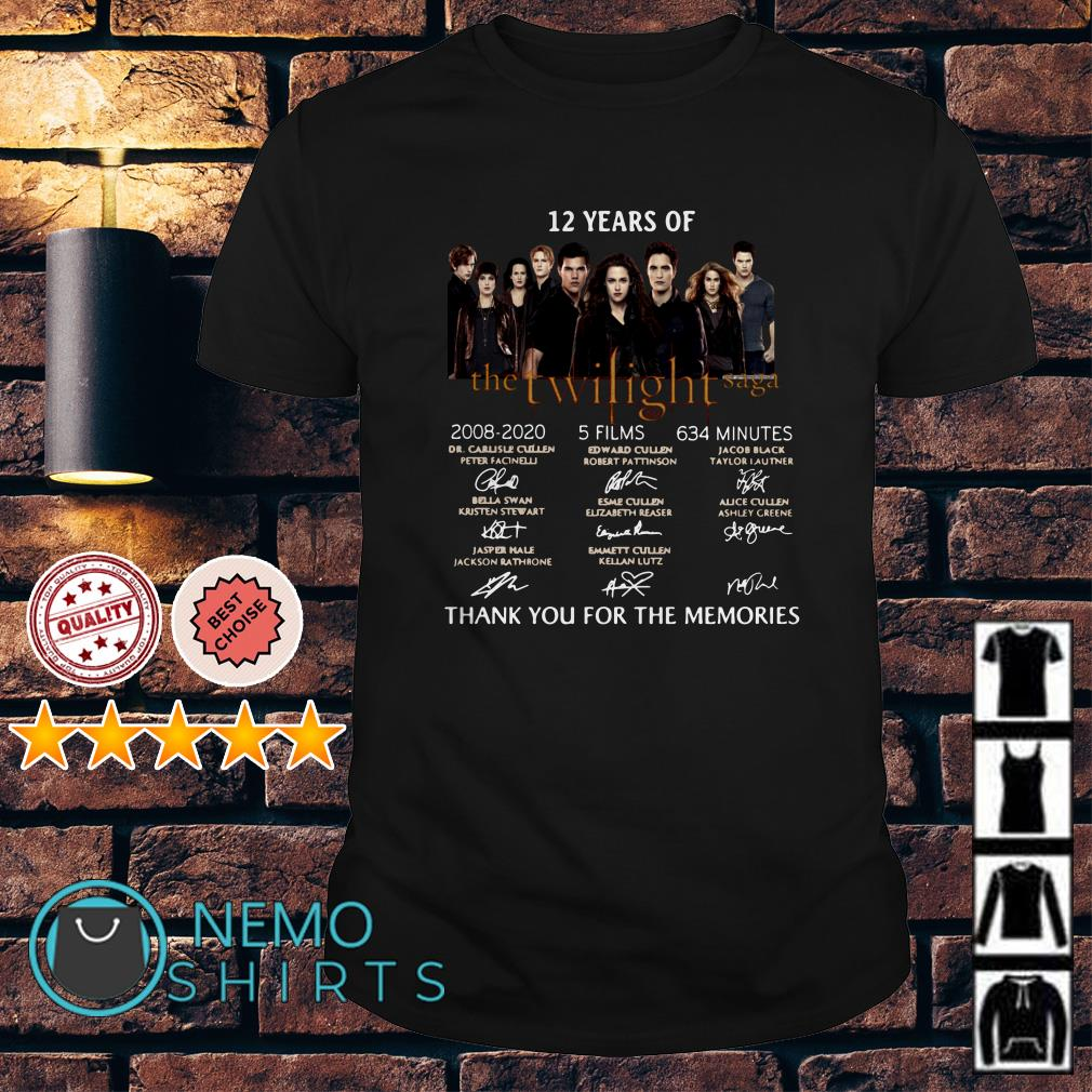 12 years of The Twilight Saga thank you for the memories signature shirt
