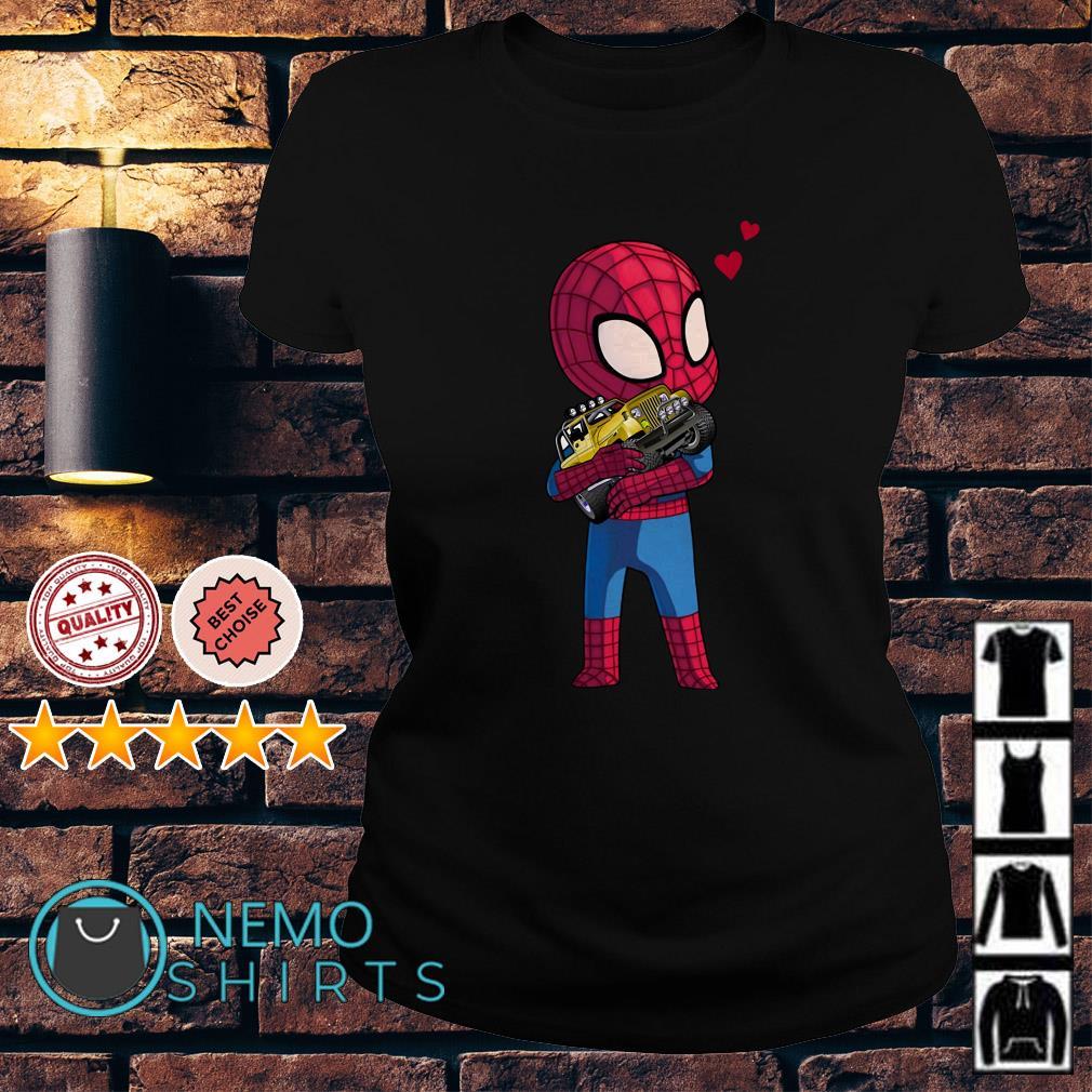 Baby Spider Man hug Jeep Ladies tee