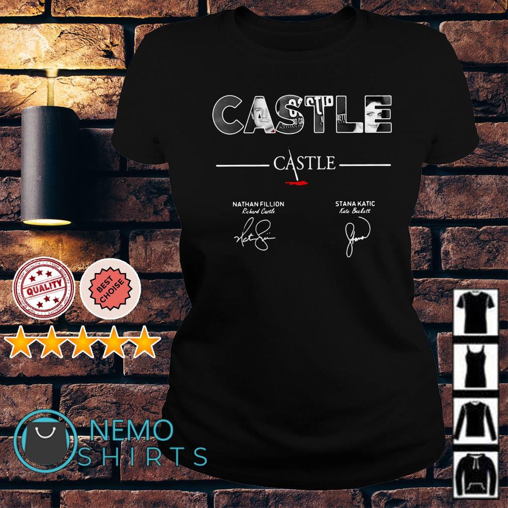 Castle Nathan Fillion Stana Katic signatures Ladies Tee