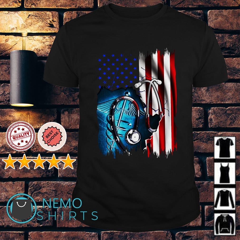 Nurse symbol American flag Independence day shirt