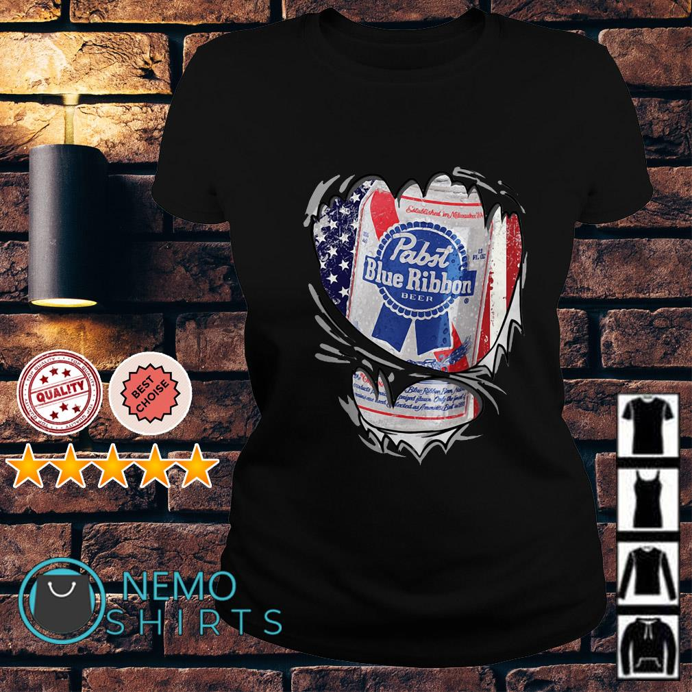 Pabst Blue Ribbon inside me Independence day Ladies tee
