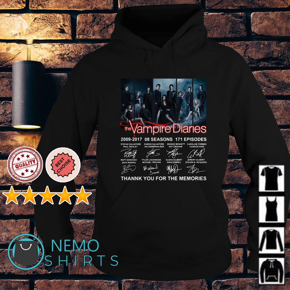 The Vampire Diaries 2009 2017 thank you for the memories signature Hoodie