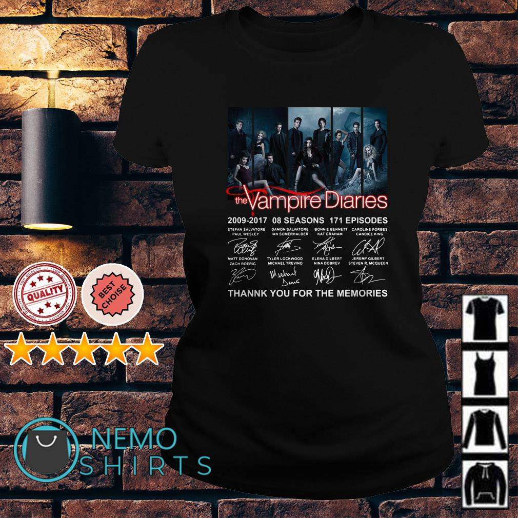 The Vampire Diaries 2009 2017 thank you for the memories signature Ladies tee
