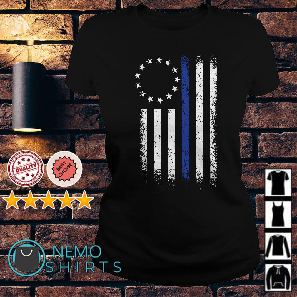 Thin Blue Line Betsy Ross Flag Ladies tee