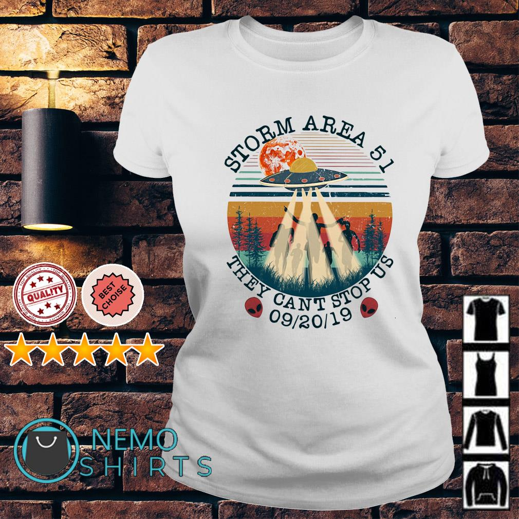 UFO storm Area 51 they can't stop us vintage Ladies Tee