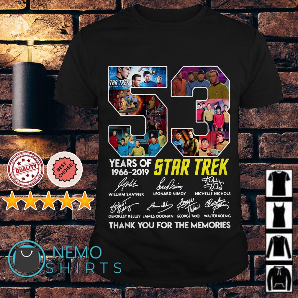 53 years of Star Trek 1966 2019 thank you for the memories shirt