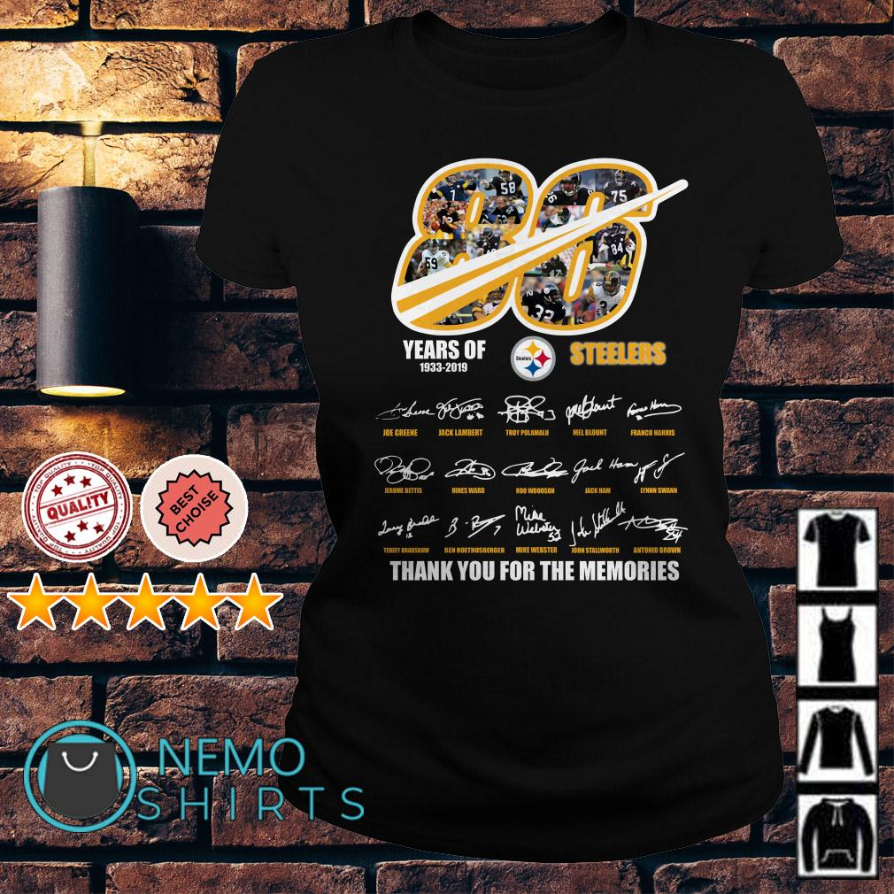 86 years of Pittsburgh Steelers 1933 2019 signature thank you for the memories Ladies tee