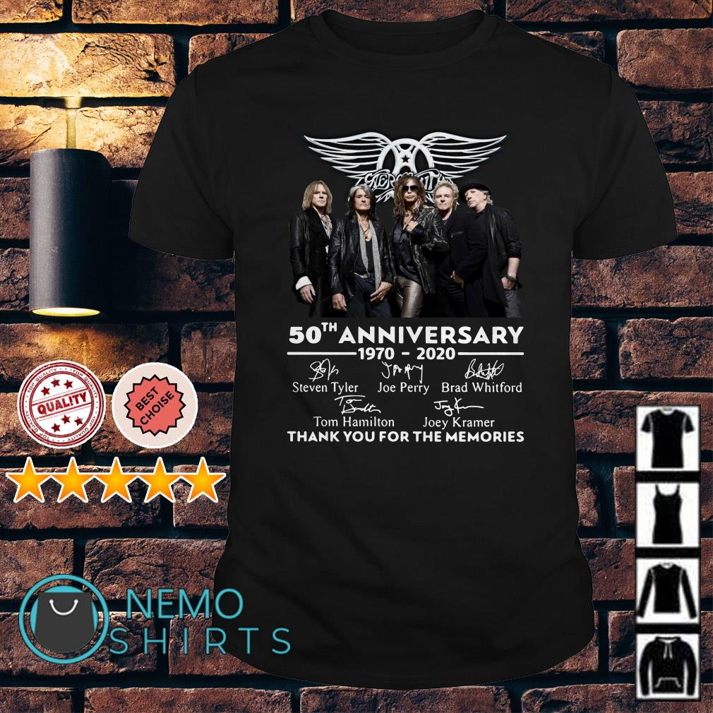 Aerosmith 50th Anniversary 1970 2020 thank you for the memories shirt