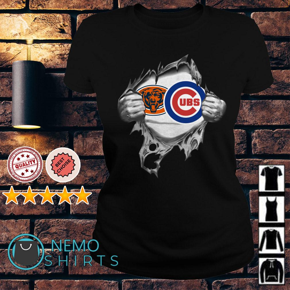 Chicago Bears and Chicago Cubs inside me Ladies tee