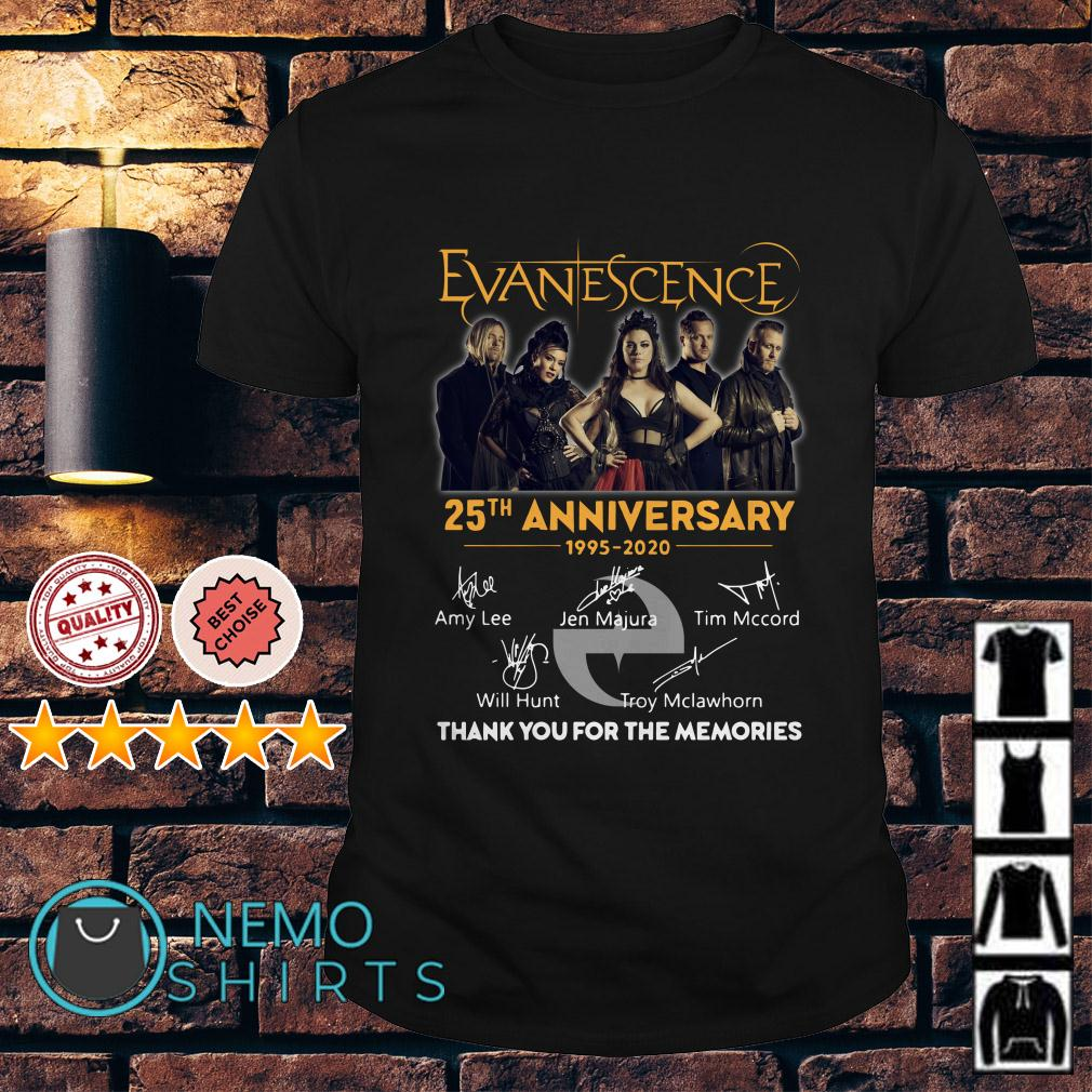 Evanescence 25th Anniversary 1995 2020 thank you for the memories shirt