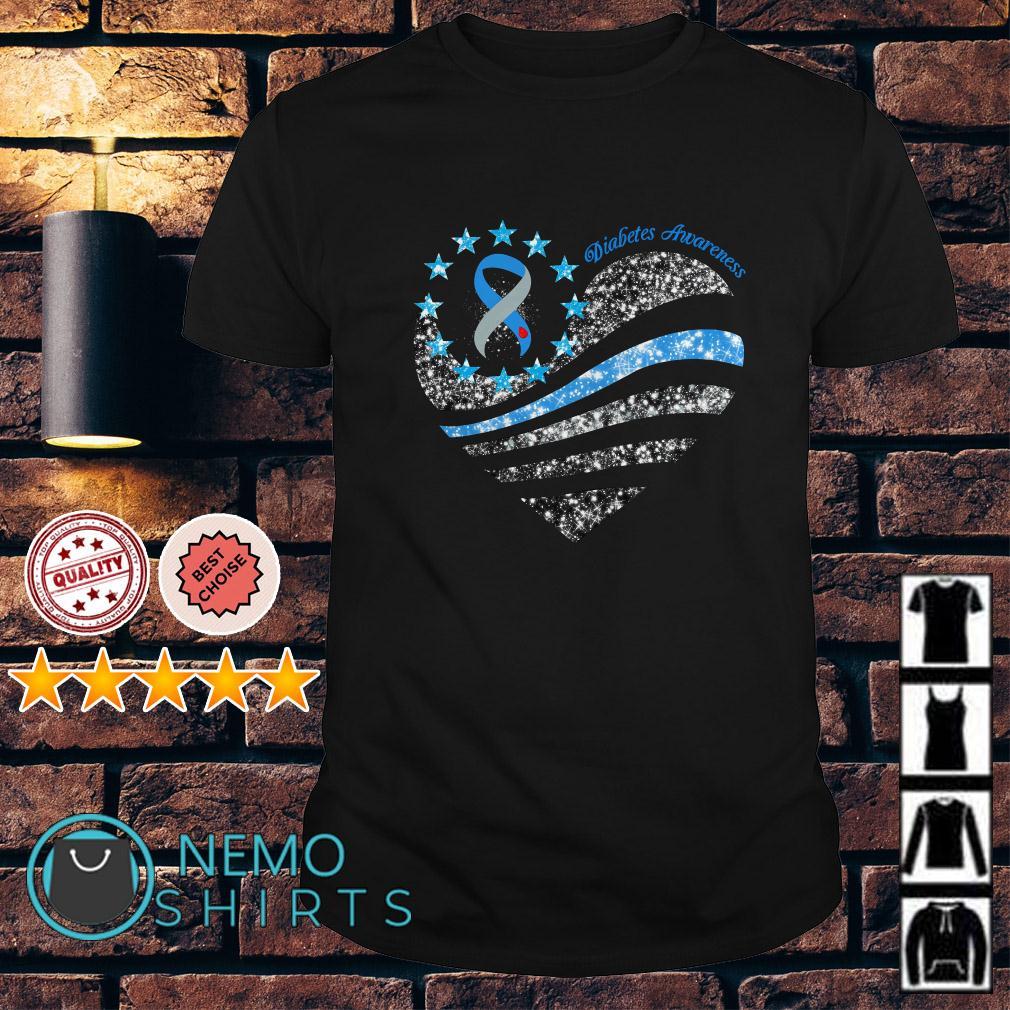 Glitter Diabetes Awareness Betsy Ross heart shirt