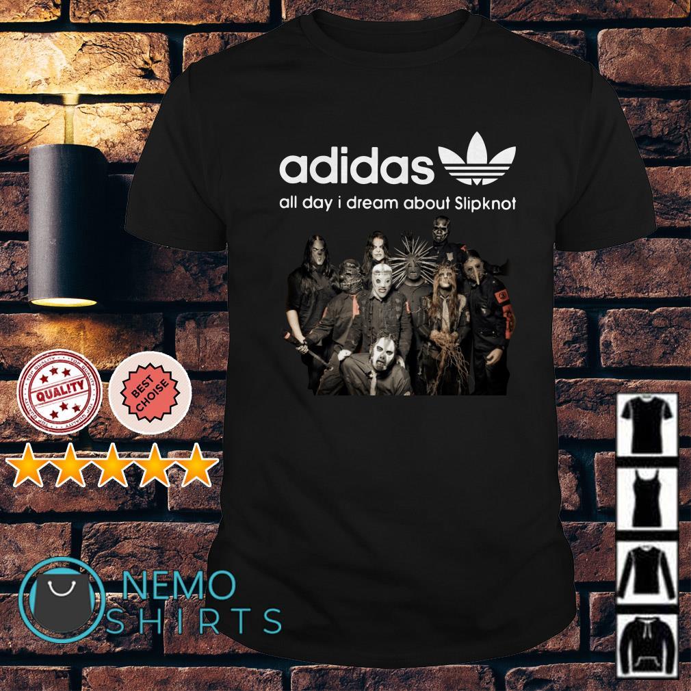 Horror Halloween Adidas all day I dream about Slipknot shirt
