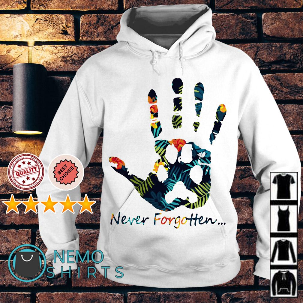 Human hand and animal paw never forgotten Hoodie