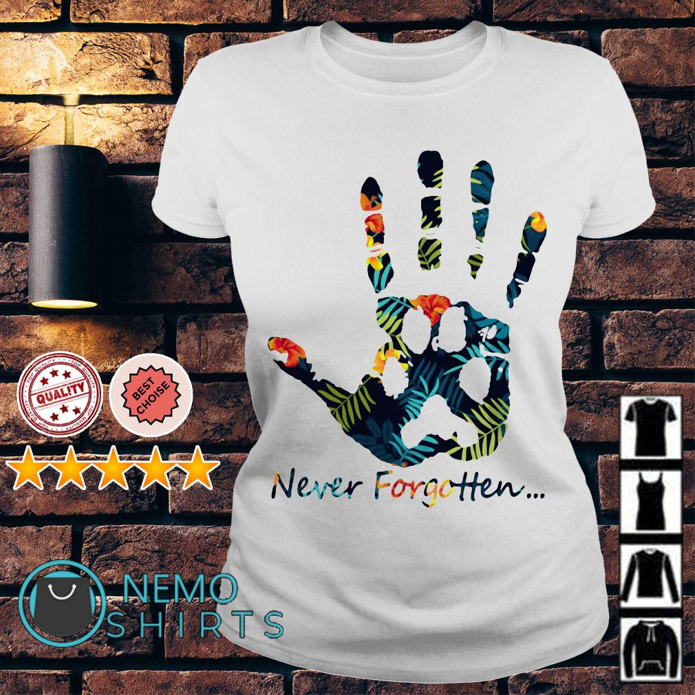 Human hand and animal paw never forgotten Ladies tee