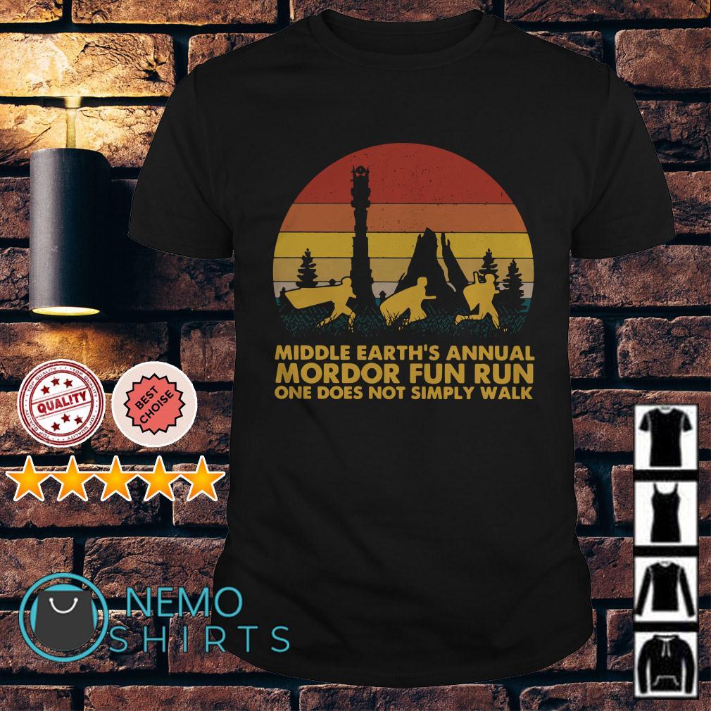 Middle Earth's annual mordor fun run Lord of The Ring retro shirt