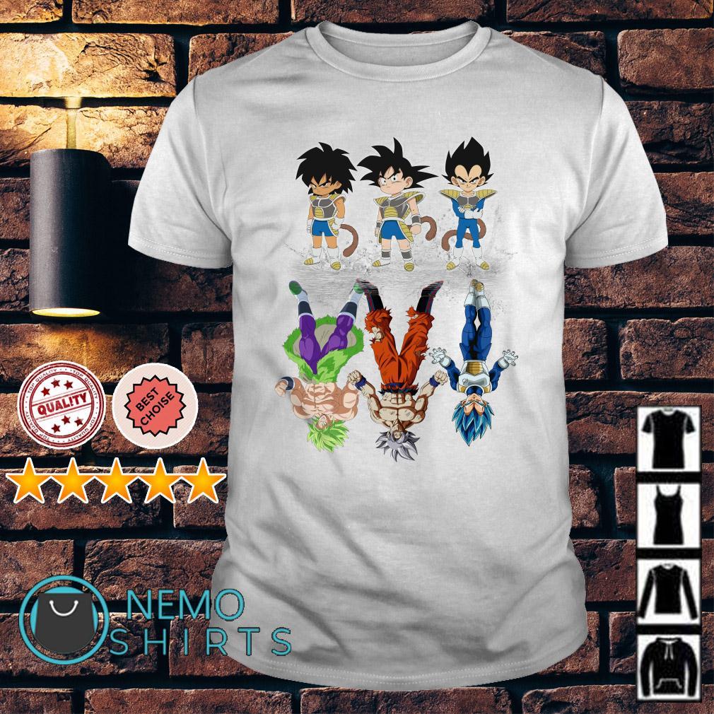 Saiyan Kids Broly Songoku Vegeta water mirror reflection mature shirt