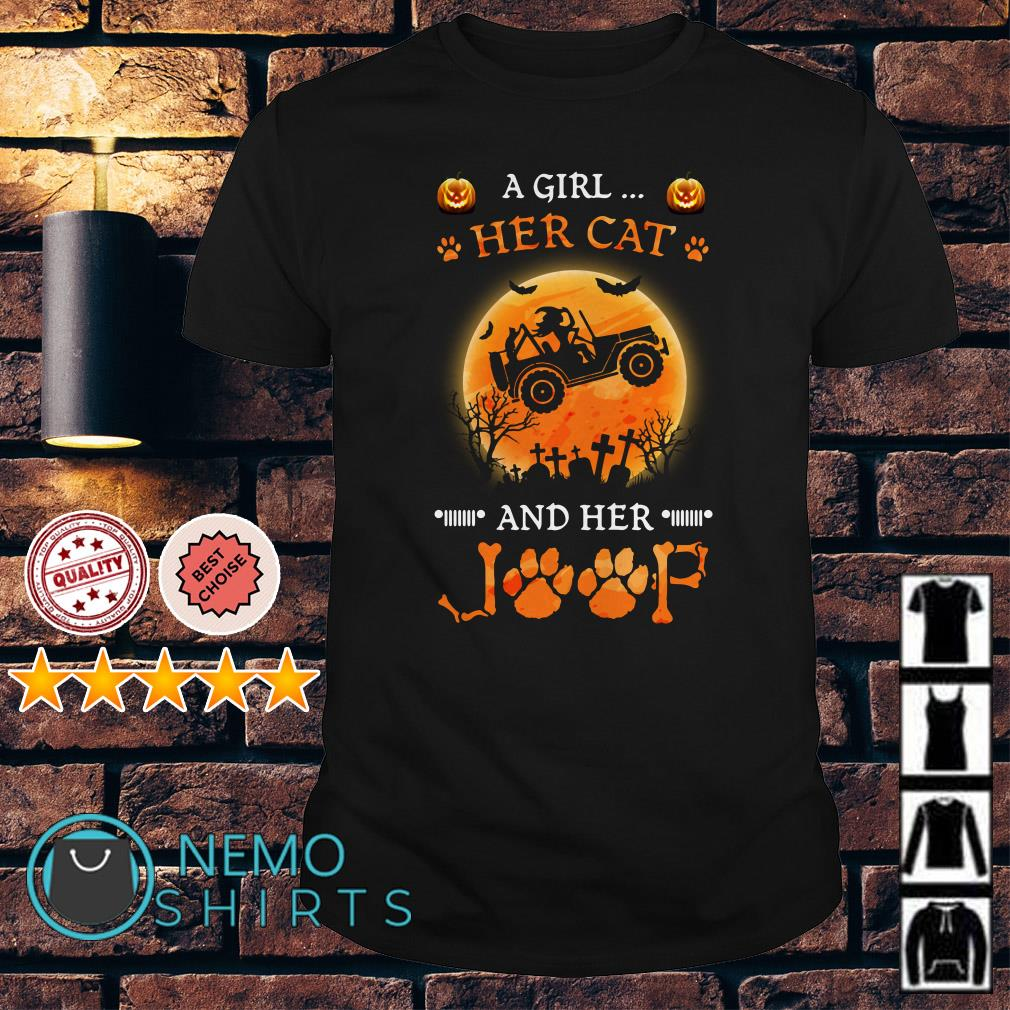 Witch a girl her cat and her Jeep Halloween shirt