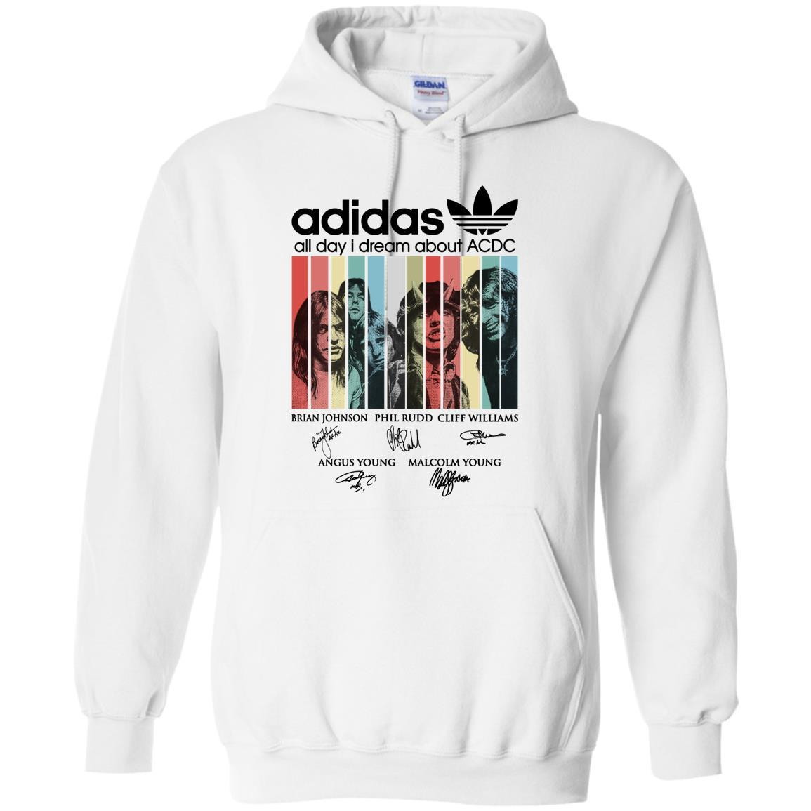 Adidas All day I dream about ACDC Band signature retro Hoodie