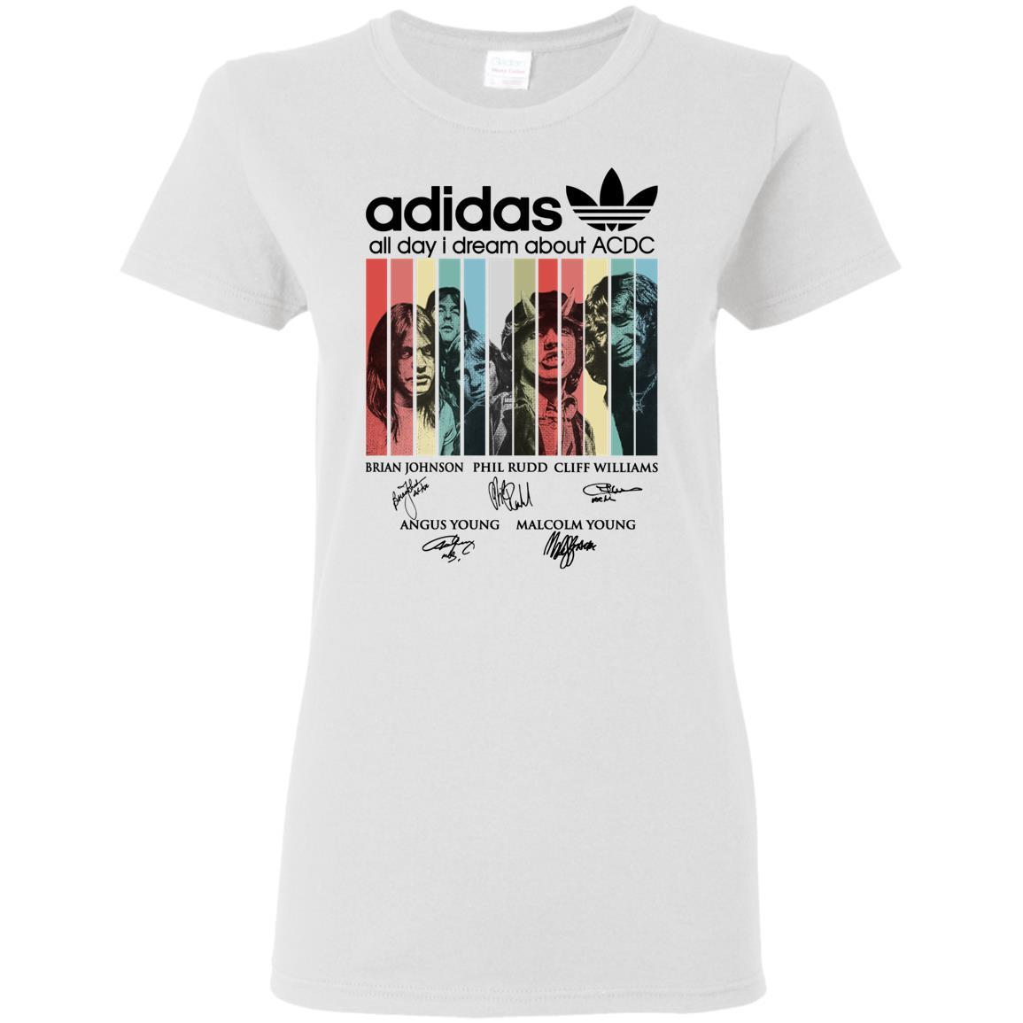 Adidas All day I dream about ACDC Band signature retro Ladies tee