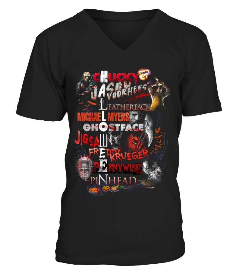 Chucky Jason Voorhees Leatherface Michael Myers Halloween V-neck t-shirt