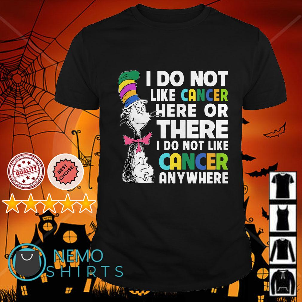 Dr Seuss I do not like cancer here or there I do not like cancer anywhere shirt
