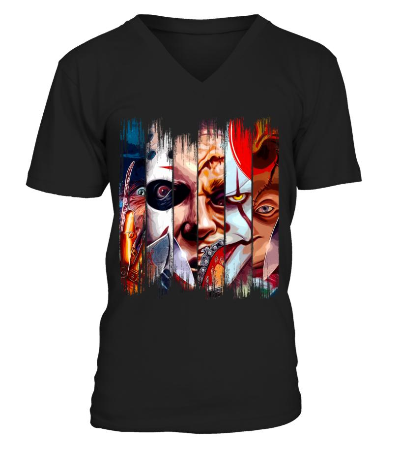 Freddy Krueger Jigsaw Michael Myers Leatherface Pennywise Chucky V-neck t-shirt