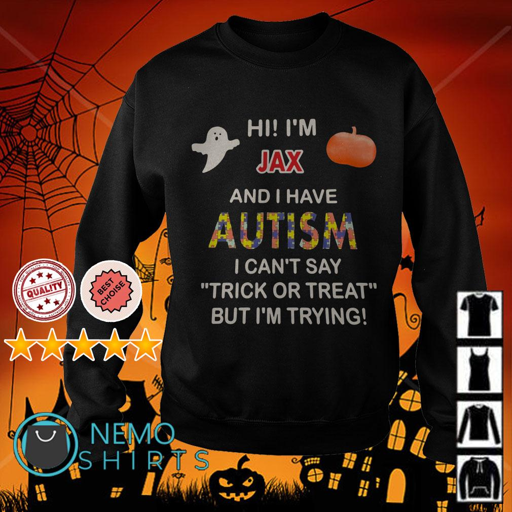 Hi I'm Jax and I have Autism I can't say trick or treat but I'm trying Halloween Sweater