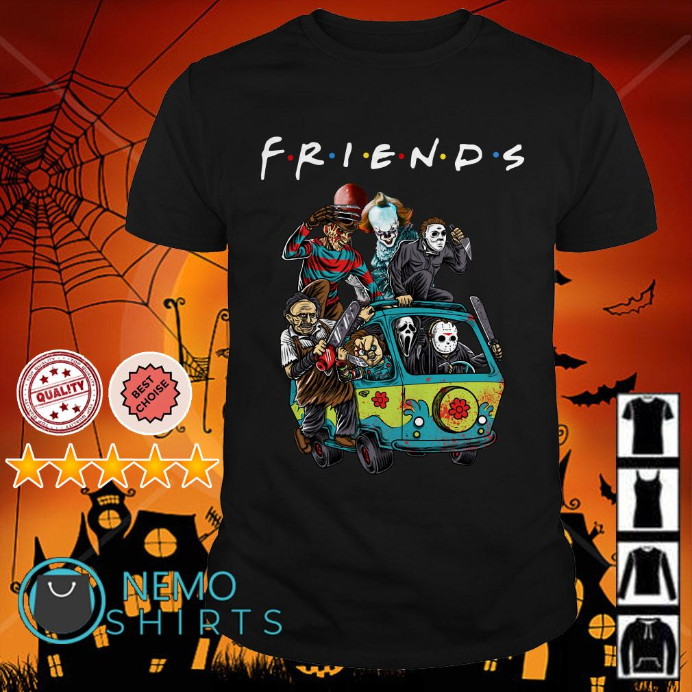 Horror characters on the hippie van Friends shirt