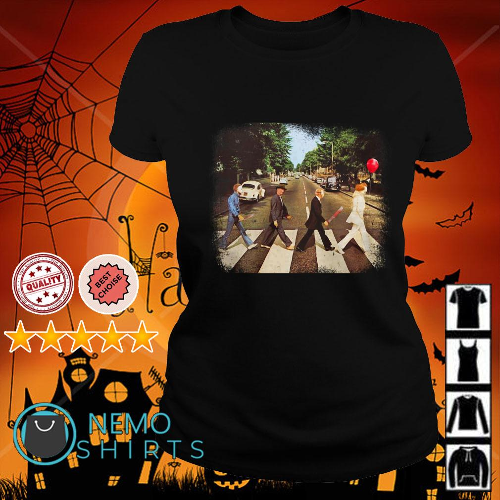 Horror Movie Characters Abbey Road Halloween Ladies tee
