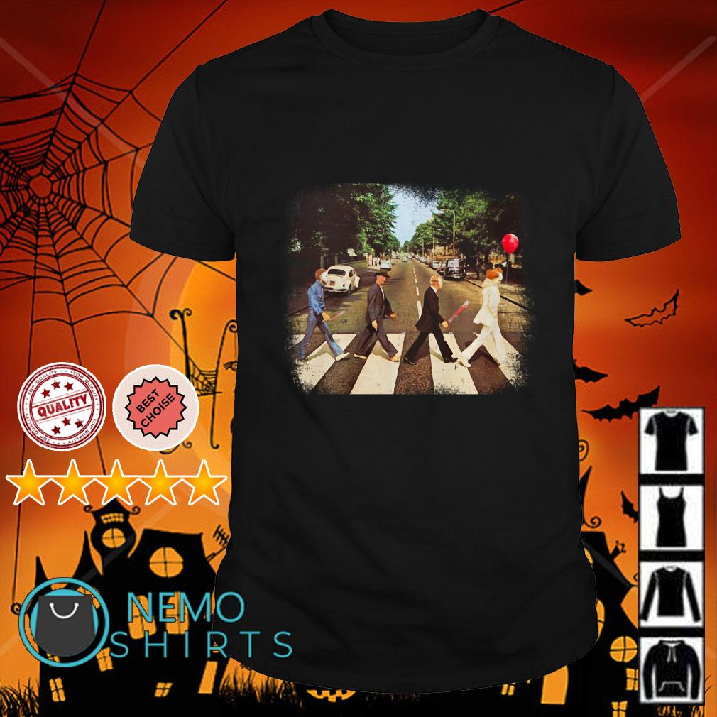 Horror Movie Characters Abbey Road Halloween shirt