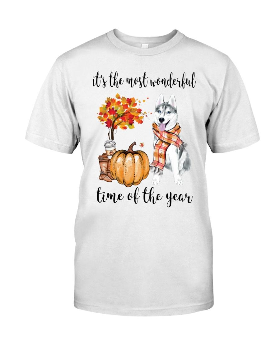 Husky and pumpkin it's the most wonderful time of the year shirt
