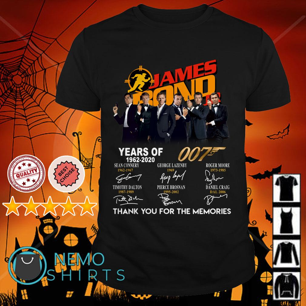 James Bond JR years of 007 1962-2020 signature thank you for the memories shirt