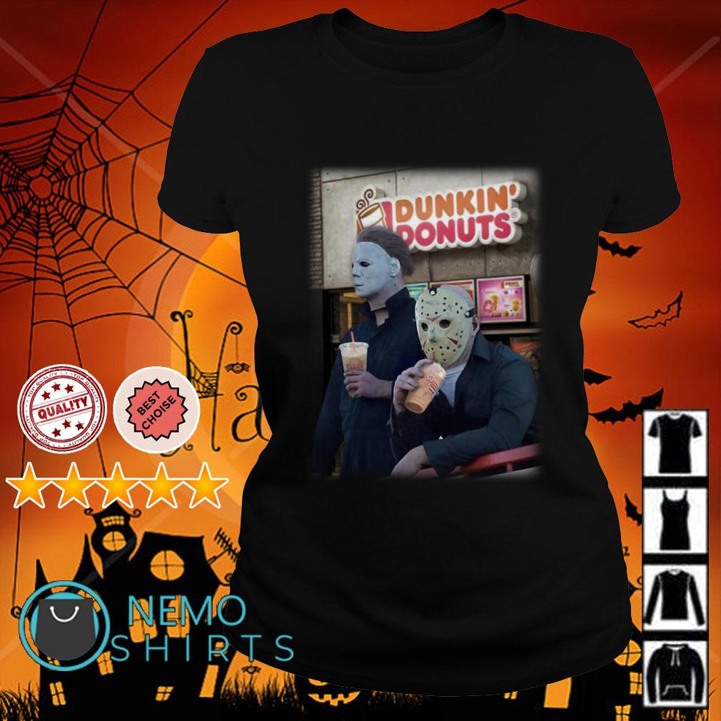 Michael Myers and Jason Voorhees drink Dunkin Donuts Ladies tee