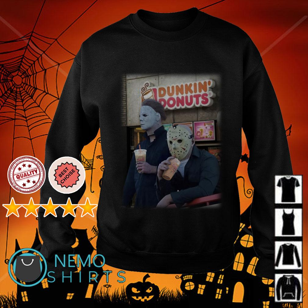 Michael Myers and Jason Voorhees drink Dunkin Donuts Sweater